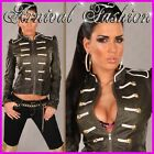 NEW SEXY WOMENS DESIGNER LEATHER MILITARY JACKET sz 6 8 10 12 14 LADIES CLOTHING