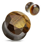 Pair Faceted Tiger Eye Semi Precious Stone Ear Plugs Tunnels Earlets Gauges