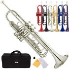 Mendini Bb Beginner Trumpet in Gold Silver Black Blue Purple Red +Care Kit+Case