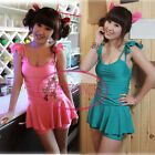 12 Colors One Piece Skirted Jumpsuit Dress Swimsuit Bathing Suit UW380