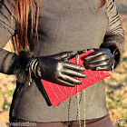 Women's 100% Leather Winter Wrist Gloves Black with Natural Rabbit Fur on Cuff