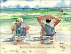 "BEACH CHAIR ""Seaside Loungers"" Watercolor Painting Art Print Signed Judith Stein"
