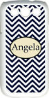 Monogrammed Navy Blue Chevron Design Samsung Galaxy S3 Case Cover