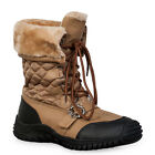 NEW WOMENS TAN BROWN LACE LADIES SNOW SKI FLEECED WINTER THERMAL BOOTS SIZE 3-8