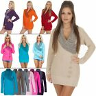 New Womens Knitted 5 Button V Neck Long Jumper Casual Ladies Dress Size S M L XL