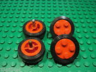 Lego - Wheel Old with 4 Studs (7039) + Offset or Smooth Tyre - Qty x4
