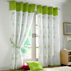 LIME AND WHITE VOILE LINED PAIR OF CURTAINS EYELET RING TOP FREE P&P NEW