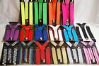 Braces Suspenders Adjustable Unisex Neon Glitter Plain