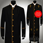 Clergy Robe All Sizes Solid Black Gold Piping Cassock Full Length Preacher $200