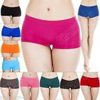 New Womens Ladies Plain Boxer Shorts Briefs Knickers Underwear Size 8 10 12 14