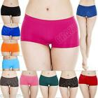 New Womens Ladies Plain Boxer Shorts Briefs Knickers Underwear Size 8 10 12 14 S