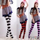 Admcity Spandex Wide Striped Krait Like Tights Pantyhose Stripes Hosiery Fashion