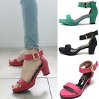 Womens Shoes Ankle Strap Medium Heels Sandals Black Pink Green Size (5021)