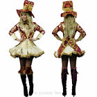 Mad Hatter Fancy Dress Ladies Outfit Size 6 8 10 12 14 16 Alice in Wonderland