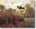 HUGE Monet Garden at Argenteuil Stretched Canvas Giclee Art Repro ALL SIZES