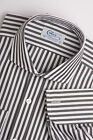 SALE COLES 2FOLD COTTON BLACK BENGAL STRIPE CUTAWAY COLLAR/REG'R FIT CITY  SHIRT