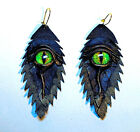 Dragon eye leather earrings. Snake eye feather earrings.Horror Halloween earring