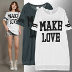 AnnaKastle New Womens Short Sleeves Make Love Not War Long T-shirt Size SM