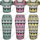 WOMENS LADIES BODYCON AZTEC PRINT PENCIL SKIRT CROP TOP SUIT TOPS MIDI SKIRTS