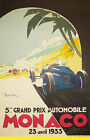 MONACO,France 1933 Art Deco Travel/Motor Racing Poster A1A2A3A4Sizes