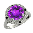 3.19 Ct Round Purple Amethyst and Black Diamond Sterling Silver Ring