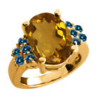 4.63 Ct Champagne Quartz Blue Diamond Yellow Gold Plated Sterling Silver Ring