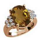 4.63 Ct Oval Whiskey Quartz White Diamond Rose Gold Plated Sterling Silver Ring