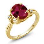 3.38 Ct Oval Red Created Ruby Topaz Yellow Gold Plated Sterling Silver Ring