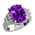 4.93 Ct Oval Purple Amethyst White Diamond Sterling Silver Ring