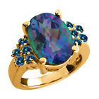 4.48 Ct Millenium Blue Mystic Quartz Blue Diamond Yellow Gold Plated Silver Ring