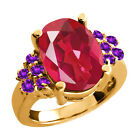 4.55 Ct Last Dance Pink Mystic Quartz Purple Amethyst Gold Plated Silver Ring