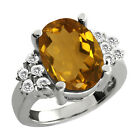 4.70 Ct Oval Champagne Quartz White Topaz Sterling Silver Ring