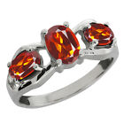 1.50 Ct Genuine Oval Orange Red Madeira Citrine Gemstone Sterling Silver Ring