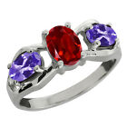 1.80 Ct Oval Red Garnet and Blue Tanzanite Sterling Silver Ring
