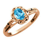 0.56 Ct Oval Swiss Blue Topaz Black Diamond Rose Gold Plated Silver Ring