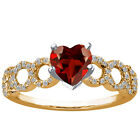 1.57 Ct Heart Shape Red Garnet 925 Yellow Gold Plated Silver Ring