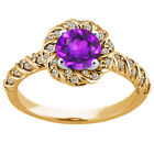 1.73 Ct Round Purple Amethyst 925 Yellow Gold Plated Silver Ring