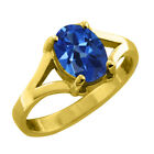 1.45 CT Oval Cut Mystic Sapphire Topaz Yellow Gold Ring