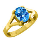 1.45 Ct 8X6 Oval Cut Blue Topaz Yellow Gold Ring