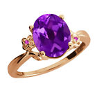 2.52 Ct Oval Amethyst Sapphire Rose Gold Plated 925 Silver Ring