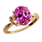 3.27 Ct Pink Created Sapphire Rhodolite Garnet Rose Gold Plated 925 Silver Ring