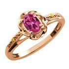 0.51 Ct Oval Pink Tourmaline Canary Diamond Rose Gold Plated Silver Ring