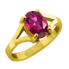 1.45 CT 8x6 Oval Cut Red Mystic Topaz Yellow Gold Ring