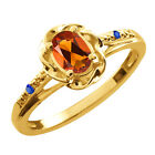 0.42 Ct Oval Orange Red Madeira Citrine Blue Sapphire Gold Plated Silver Ring