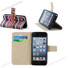 Tribal PU Leather Credit Card Wallet Flip Pouch Stand Case Cover For iPhone 5 5G