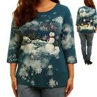 T11 - 1X 2X 3X 4X Let It Snow Snowman Snowflakes Holiday Christmas Top Blue