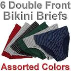 6 Pairs Men's Double Front Bikini Briefs 100% Cotton Lined Underwear Pin Stripes