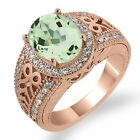 3.13 Ct Oval Green Amethyst White Sapphire Rose Gold Plated Sterling Silver Ring
