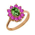 1.35 Ct Oval Green Tourmaline Pink Sapphire Rose Gold Plated Silver Ring