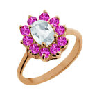 1.45 Ct Oval White Topaz Pink Sapphire Rose Gold Plated Sterling Silver Ring